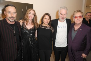 David Furnish, Rachel Feinstein, Patty Smyth, John McEnroe, and Sir Elton John at the John Currin opening at Gagosian Beverly Hills. (Photo by David Crotty/Patrick McMullan)