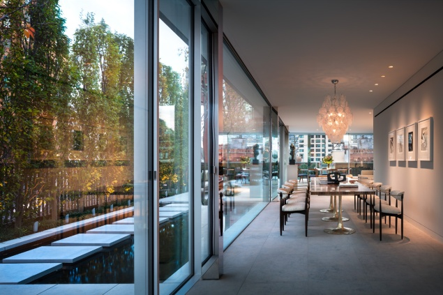 The Penthouse at 7 Harrison Street boats north and south-facing living rooms, plus an outdoor reflecting pool.