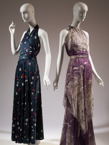 (left) Halston, dress, printed knit cotton, c.1976, USA, The Museum at FIT, 91.41.1, Gift of Ms. Gayle Osman; (right) Yves Saint Laurent, dress, printed silk chiffon, 1971, France, The Museum at FIT, 86.126.14, Gift of Lauren Bacall. Photo: Courtesy of the Museum at FIT