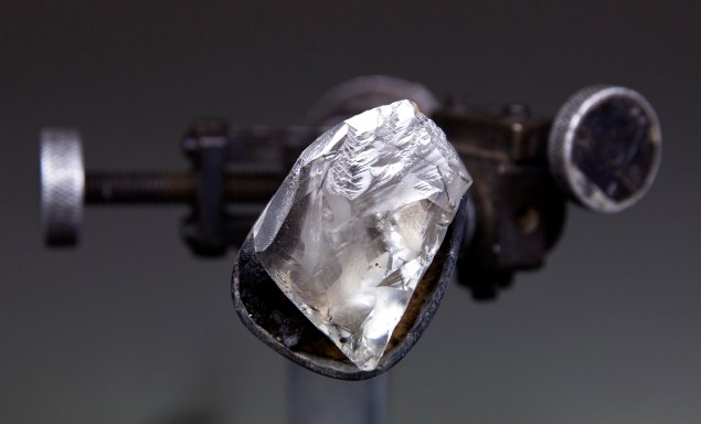 The diamond during the cutting and polishing process. (Photo courtesy Sotheby's)