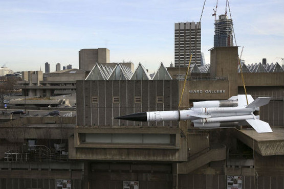 """Artist Richard Wentworth has mounted a Cold-War era missile on top of the Hayward Gallery's terraces for the exhibition """"History Is Now."""" (Photo by Philip Toscano/PA Wire)"""