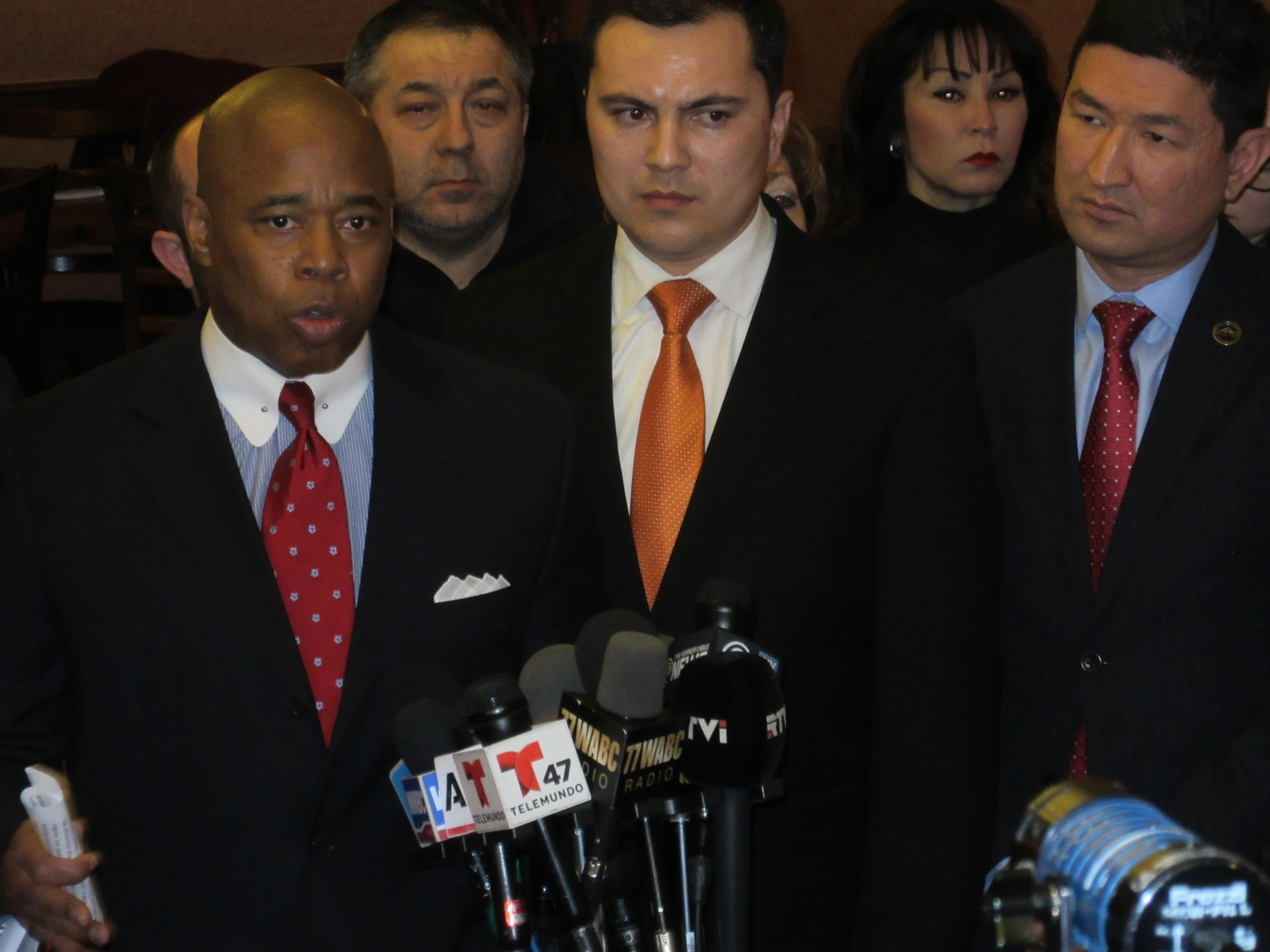 Brooklyn Borough President Eric Adams with Muslim community leaders (Photo: Will Bredderman/New York Observer).