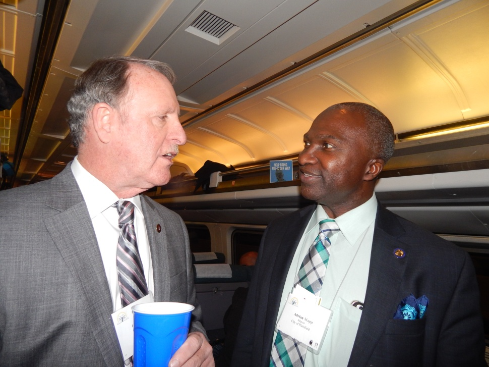 Mapp, right, on the chamber train last month with Guy Gregg.