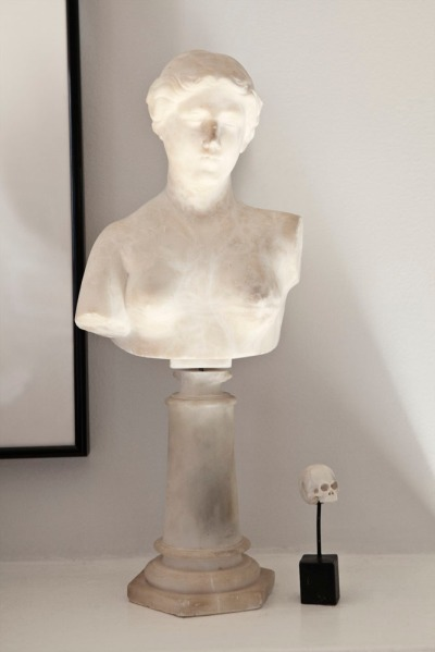 An antique bust and new skull. Photo: Celeste Sloman/New York Observer