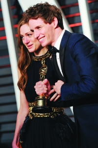 Hannah Bagshawe and Eddie Redmayne at the Vanity Fair Oscar party. (Photo by Billy Farrell/BFA)