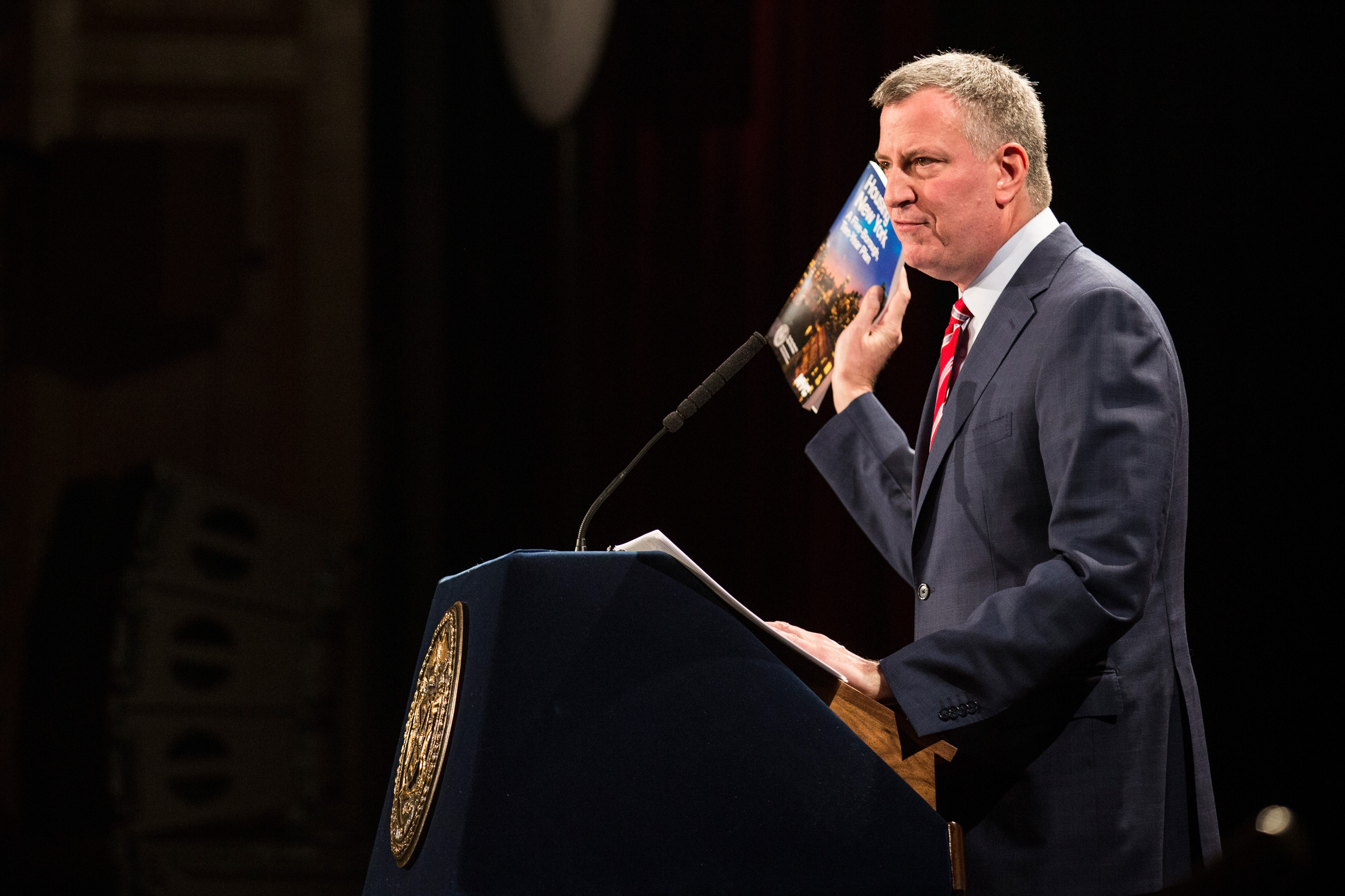 New York City Mayor Bill de Blasio delivers his State of the City address at Baruch College on February 3, 2015 in New York City.   (Photo by Andrew Burton/Getty Images)