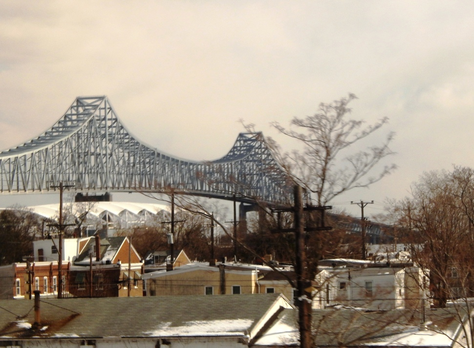 In frigid weather conditions, the chartered Amtrak train heads back toward an inviting looking New Jersey.