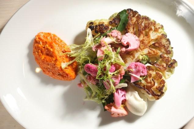 The cauliflower steak, with romesco and vegetable chutney. (Photo: