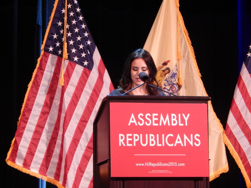 Assemblywoman Maria Rodriguez-Gregg speaks at Assembly Republicans' statewide conference in Atlantic City Monday night.