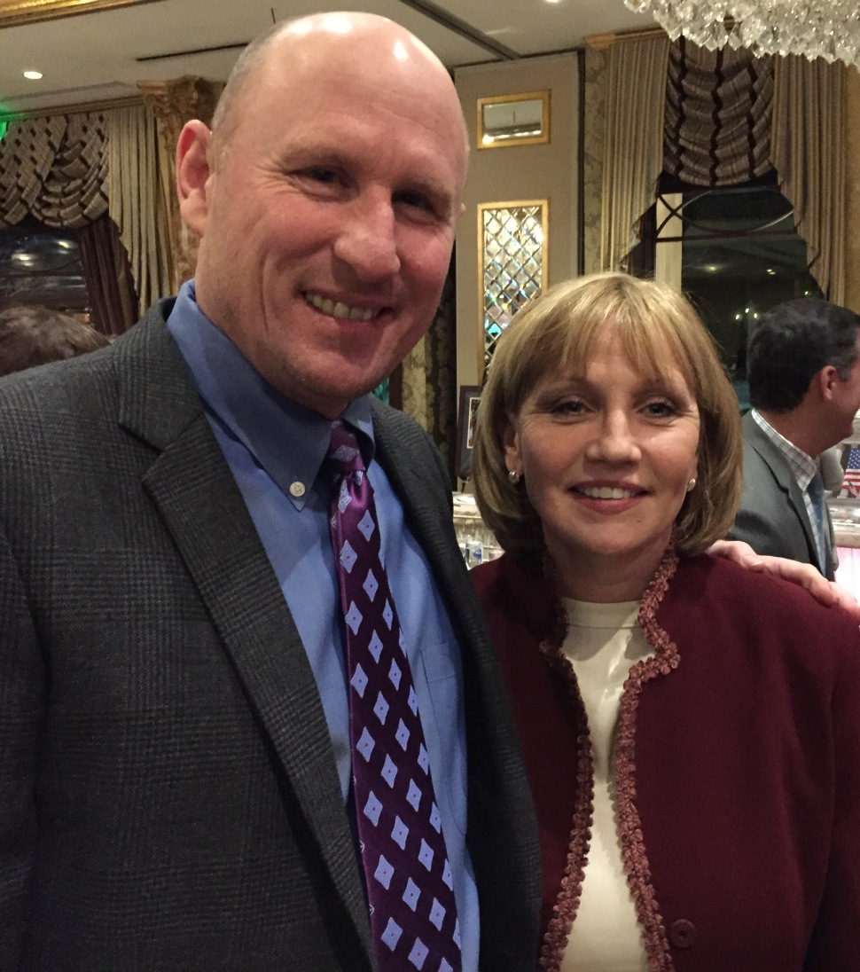 Guadagno last night with former New York Giants punter Jeff Feagles.