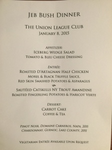 The menu from a dinner with Jeb Bush that sent shockwaves through New Jersey's political class when it was discovered that attendees included the governors' strongest supporters. Their names are revealed here for the first time.