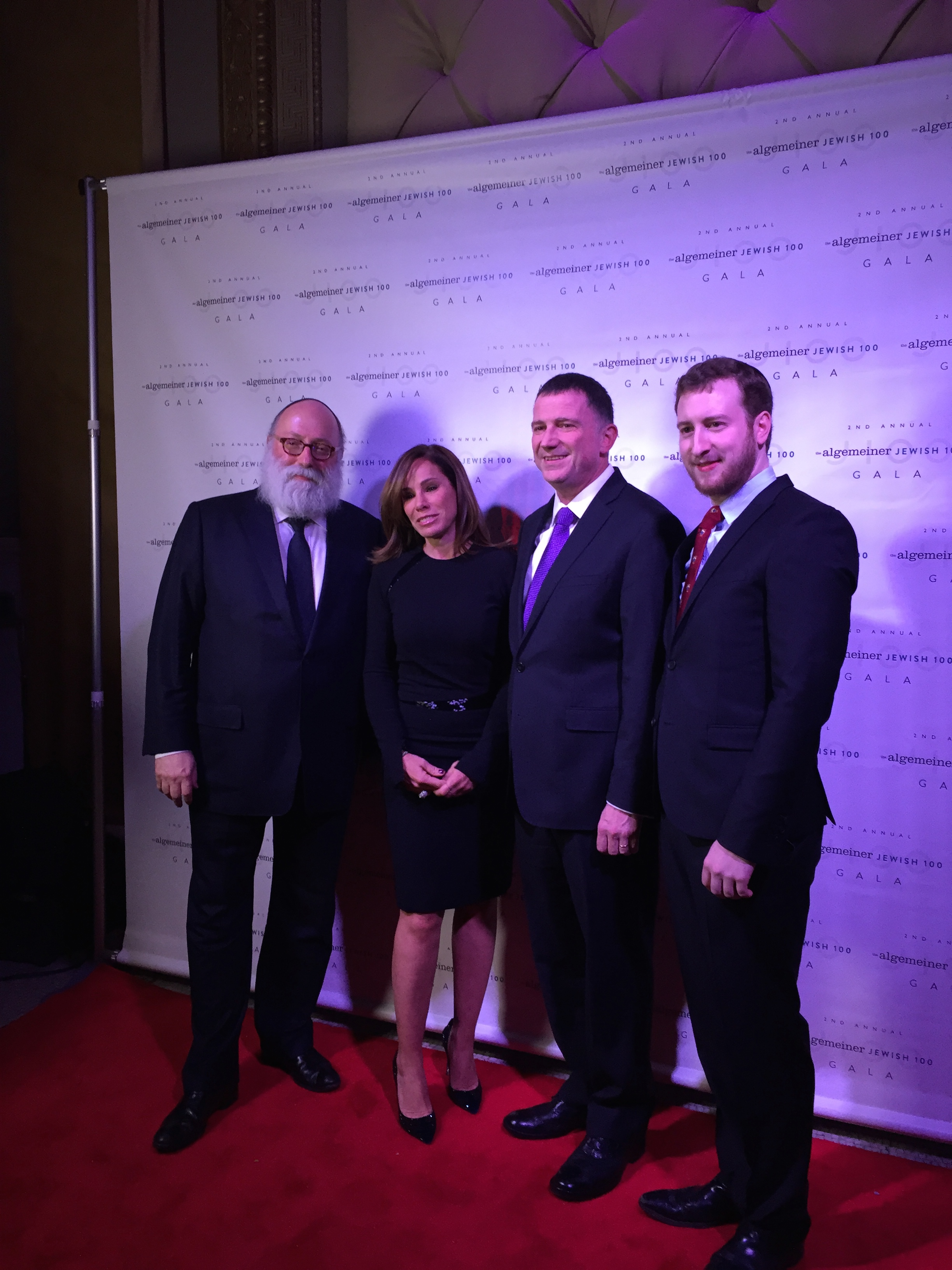 From left to right, Algemeiner publisher Simon Jacobson, Melissa Rivers, speaker of the Knesset Yuri Edelstein, and Algemeiner Editor in Chief Dovid Efune