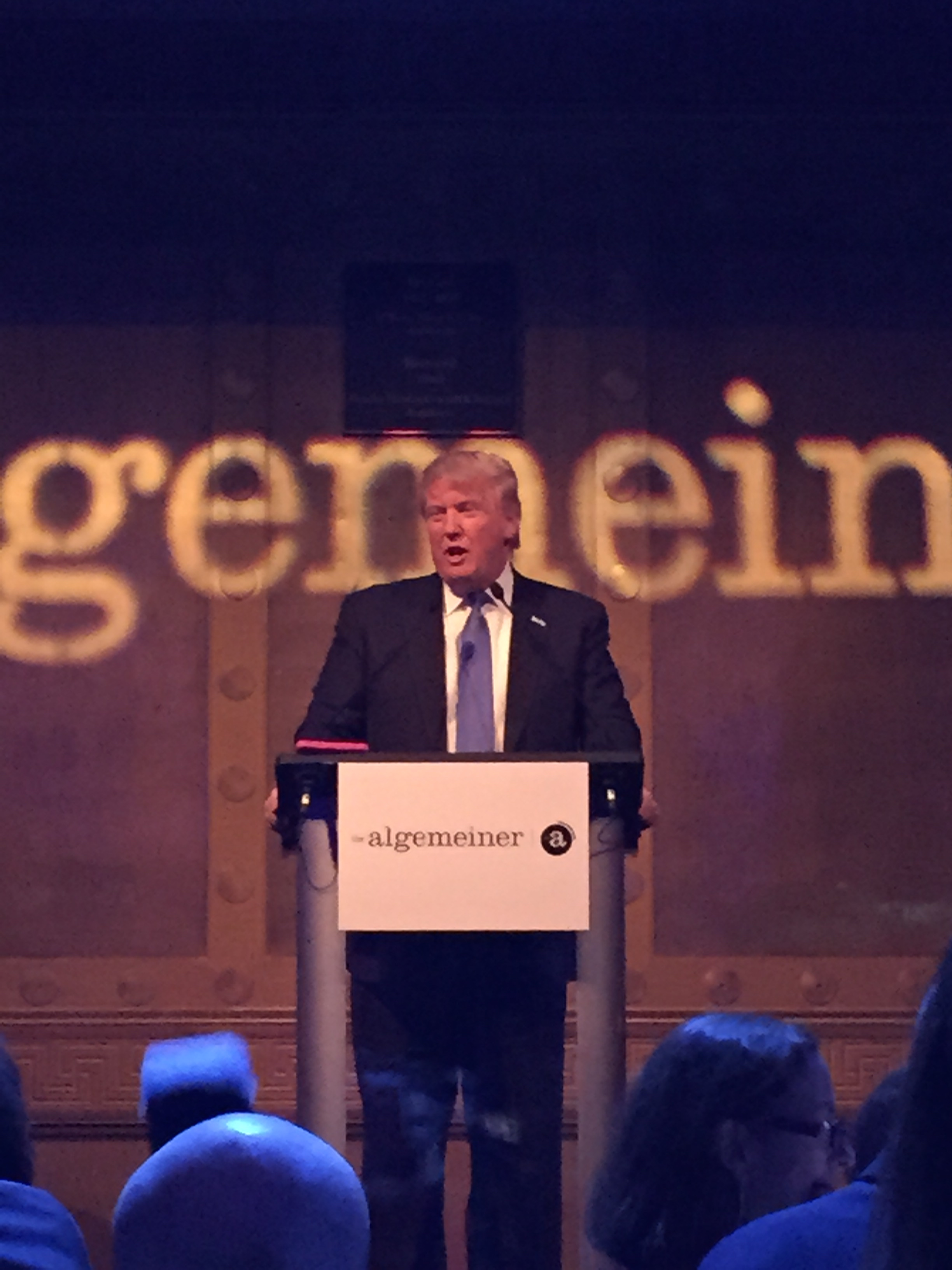 Donald Trump addressing the crowd after receiving the Algemeiner Liberty Award at the Jewish 100 Gala