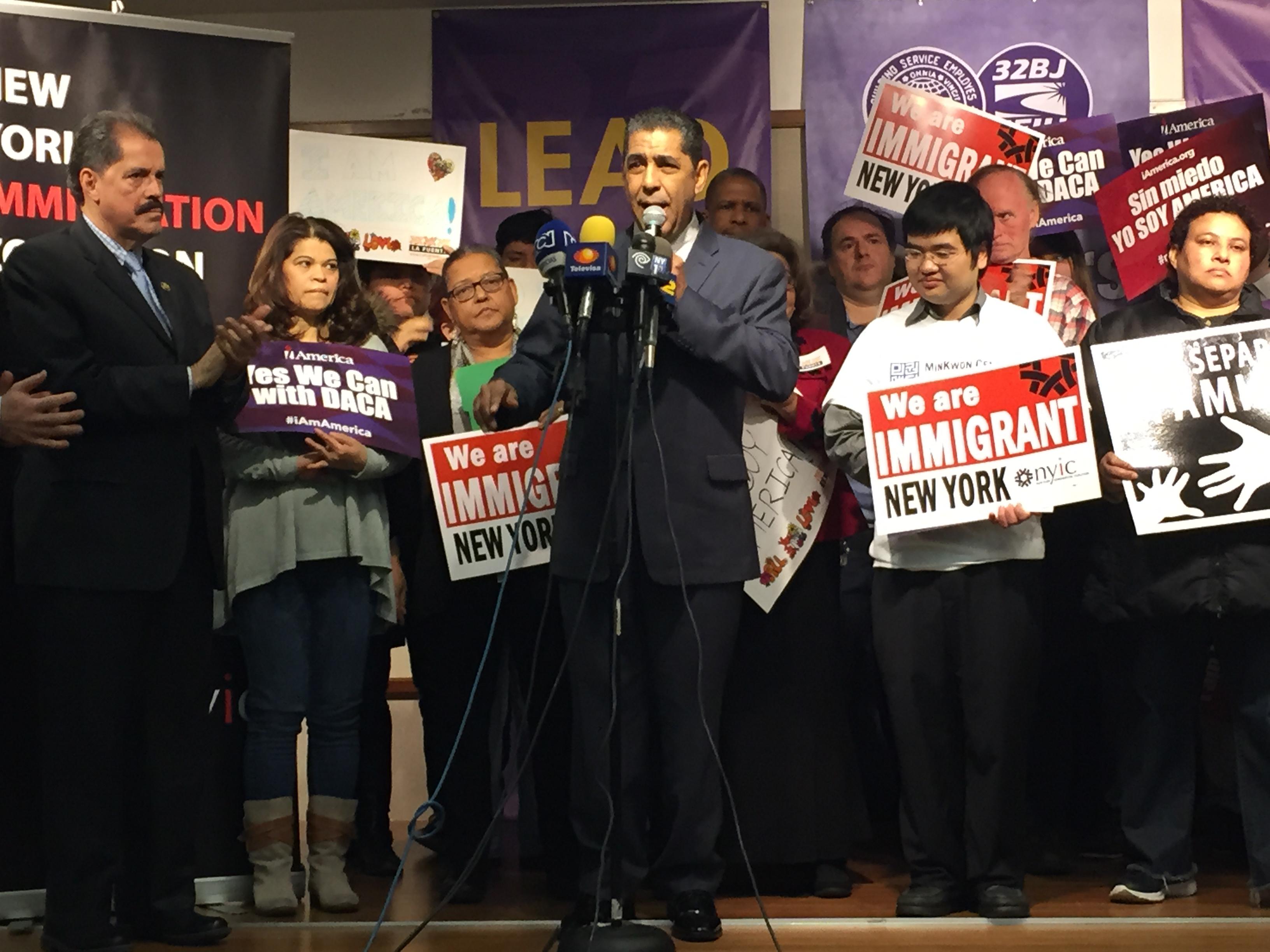 State Senator Adriano Espaillat speaks during a New York Immigration Coalition press conference. (Photo: Jillian Jorgensen/New York Observer)