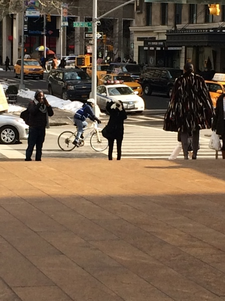 Photographers angling on the steps on Lincoln Center to get the perfect shot of a woman in a multicolor fur