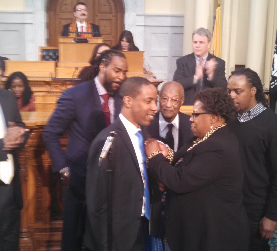 Holley gets sworn into office earlier this year.