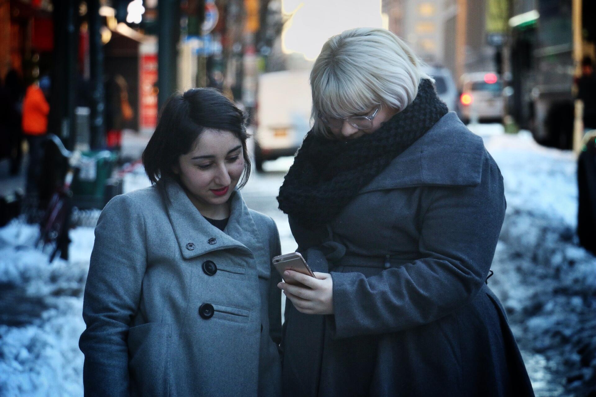Femsplain senior editor Gabriela Barkho with founder Amber Gordon. (Photo: Jack Smith IV/New York Observer)