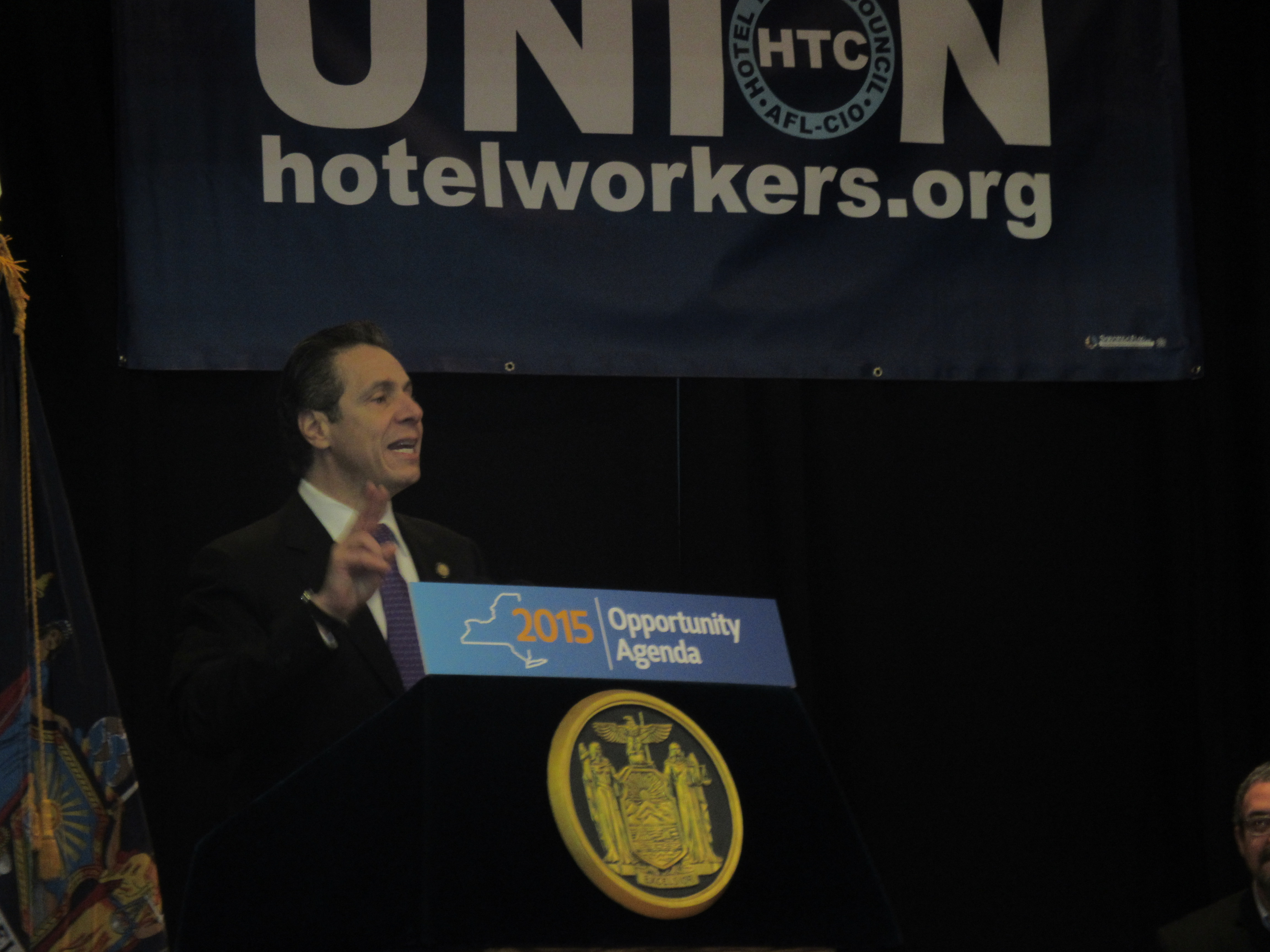 Gov. Andrew Cuomo speaks today at the Hotel and Motel Trades Council headquarters (Photo: Will Bredderman/New York Observer).