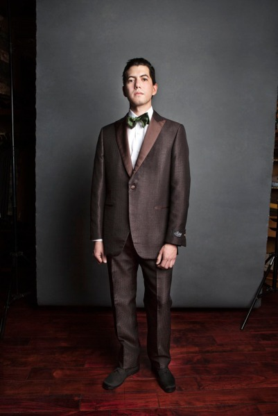 Trad style gets some attitude with a pure silk '50s style tuxedo and bow tie by Jay Kos