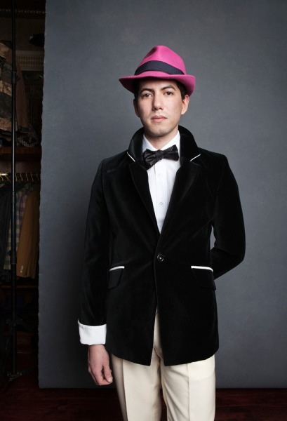 Dressed-up doesn't have to mean dull: black velvet blazer and pink rabbit felt fedora, all by Jay Kos