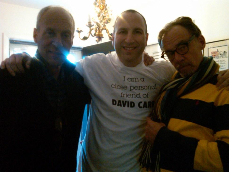Michael Aron, Ken Kurson, David Carr. The shirt was an inside joke from David's days as a cub editor in Minnesota.