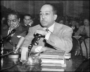 Hughes is iinterrogated by the House Committee on Un-American Activities in 1953. (Photo ebenezerray.com).