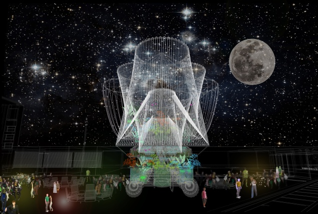 """A rendering of """"Cosmo,"""" the winning Young Architects Program design for MoMA PS1. (Photo: Andrés Jaque/Office for Political Innovation)"""