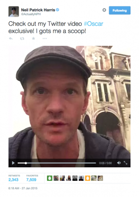 Neil Patrick Harris's Oscars video. (Photo: Twitter)