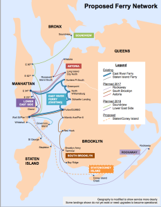 A map showing proposed new ferry service. (Courtesy Mayor Bill de Blasio's office)