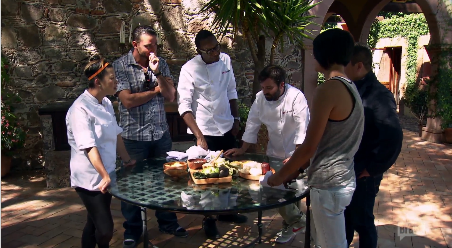 The chefs pick ingredients and Doug gets stuck with ant eggs. (Screenshot: Bravo TV)