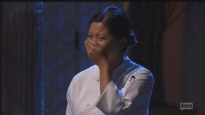Mei breaks her poker face after winning. (Screenshot: Bravo TV)