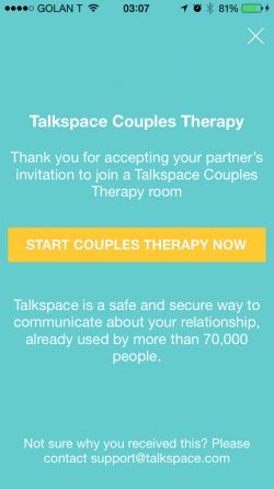 Talkspace, the on-demand therapy app, now offers couples counseling. (Photo: Talkspace)