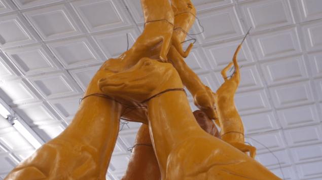 Bruce Nauman, Animal Pyramid, (1989). (Still shot from installation video for Gagosian Gallery by Trebuchet Interactive)