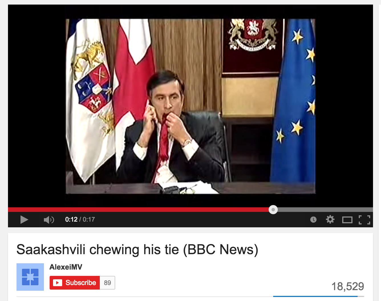 As Russian tanks neared Tbilisi, Georgia's president Mikheil Saakashvili gave an interview to the BBC during which he chewed on his red necktie. (YouTube)