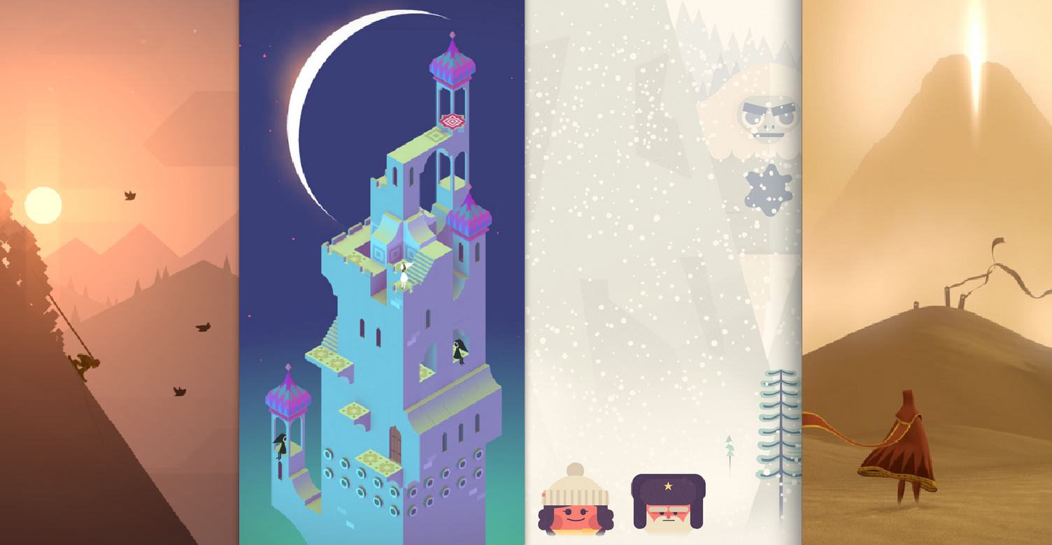 This particular trendy aesthetic cashes in on serene imagery to make escapist hits. (From left to right: Alto's Adventure, Monument Valley, TwoDots, Journey)