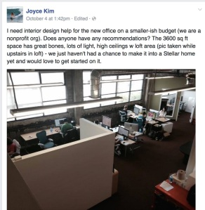 "Lots of cool crammed into this shot: Joyce Kim's surfer thumbnail, shot of the Stellar offices soaked in Mission District awesomeness, and of course ""we are a nonprofit org."" (Facebook)"