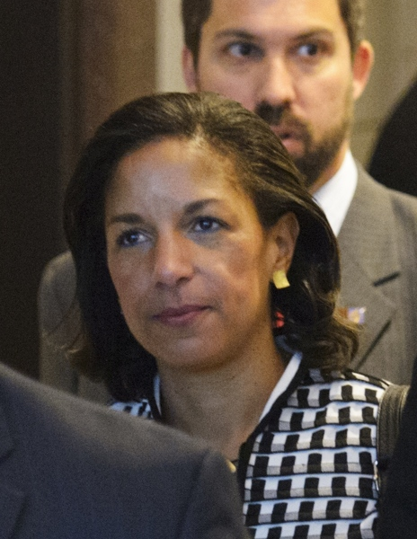 US Ambassador to the United Nations Susan Rice is seen in the US Capitol after meeting with Senator Susan Collins, R-ME, and Senator Bob Corker, R-TN, on November 28, 2012 at the Senate Visitors Center at the US Capitol in Washington, DC. Rice has been under fire from Republicans regarding her comments after the Benghazi attack which left four US citizens dead.  AFP PHOTO/Mandel NGAN        (Photo credit should read MANDEL NGAN/AFP/Getty Images)