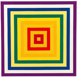 "One of Stella's ""Concentric Square"" Paintings featured at the Robert Mnuchin Gallery. (2014 Frank Stella / Artists Rights Society (ARS), New York.  Courtesy Mnuchin Gallery)"