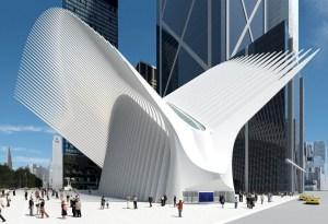 A rendering of Santiago Calatrava's WTC hub.