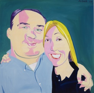 George Gurley and his wife Hilly. Illustration by Philip Burke. (Courtesy New York Observer Archives)
