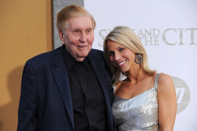 "Chairman of the Board, Viacom and CBS Corp Sumner Redstone and his girlfriend Malia Andelin attend the premiere of ""Sex and the City 2.""  (Photo by Stephen Lovekin/Getty Images)"