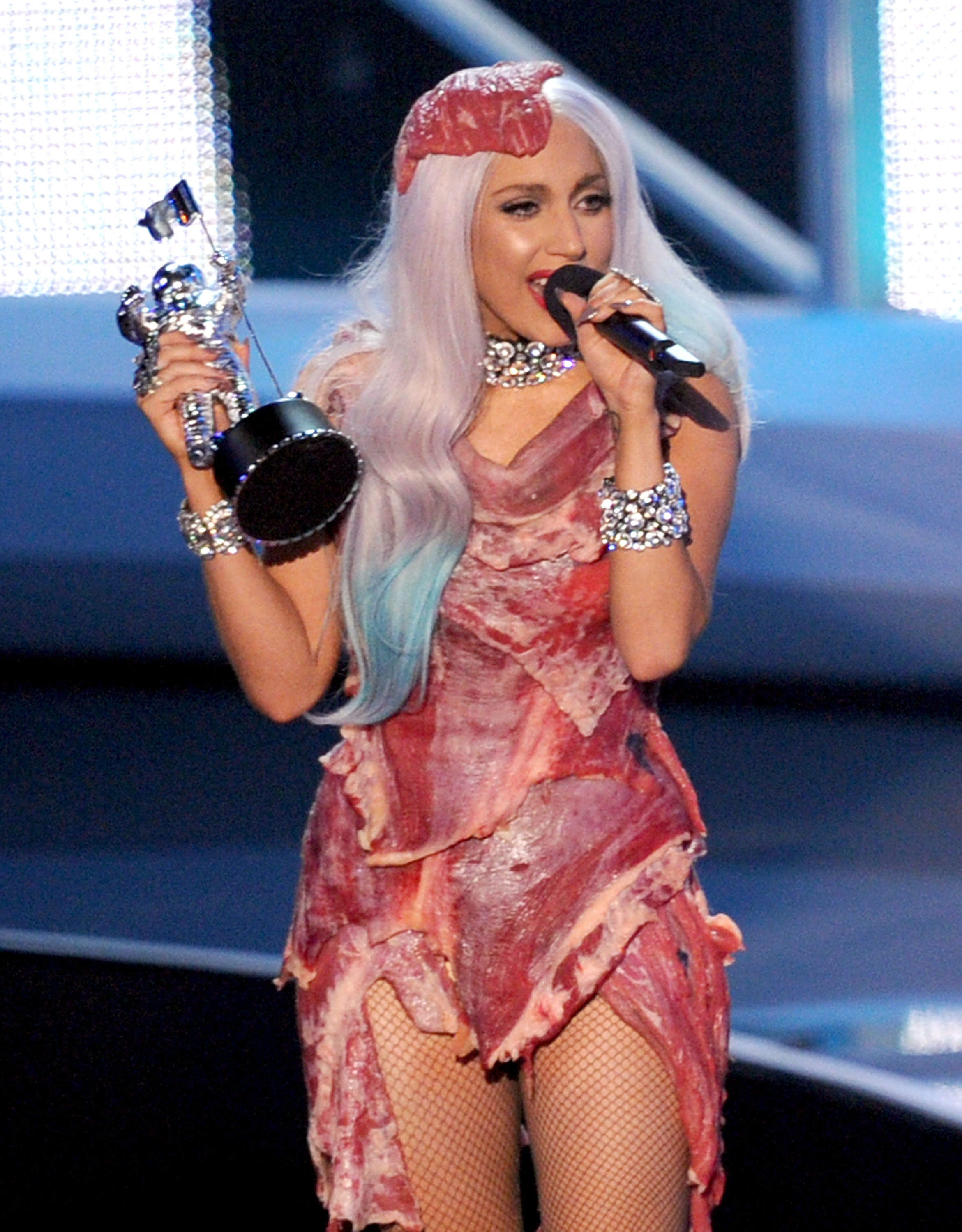 Even Madonna would not have sacrificed her sex appeal for the shock value of wearing a meat dress, as Lady Gaga did—with movie star blonde waves—in 2010 (Photo: Getty).
