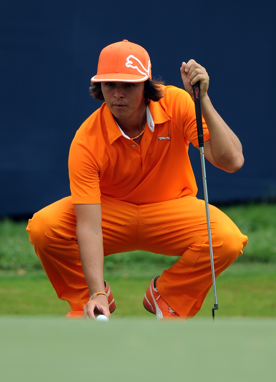 Rickie Fowler of the US lines up his put