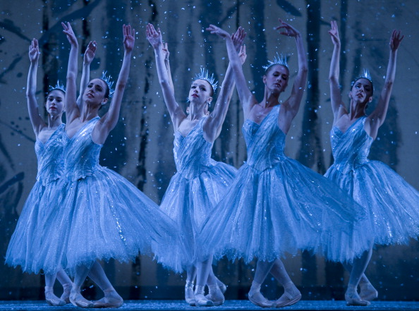 "WASHINGTON, DC - DECEMBER 8:  ""Snowflake"" dancers in American Ballet Theater's dress rehearsal of ""The Nutcracker"" at The Kennedy Center in Washington, DC on  on December 8, 2011.    The show runs from December 8th thru 11th.  (Photo by Linda Davidson/The Washington Post via Getty Images)"