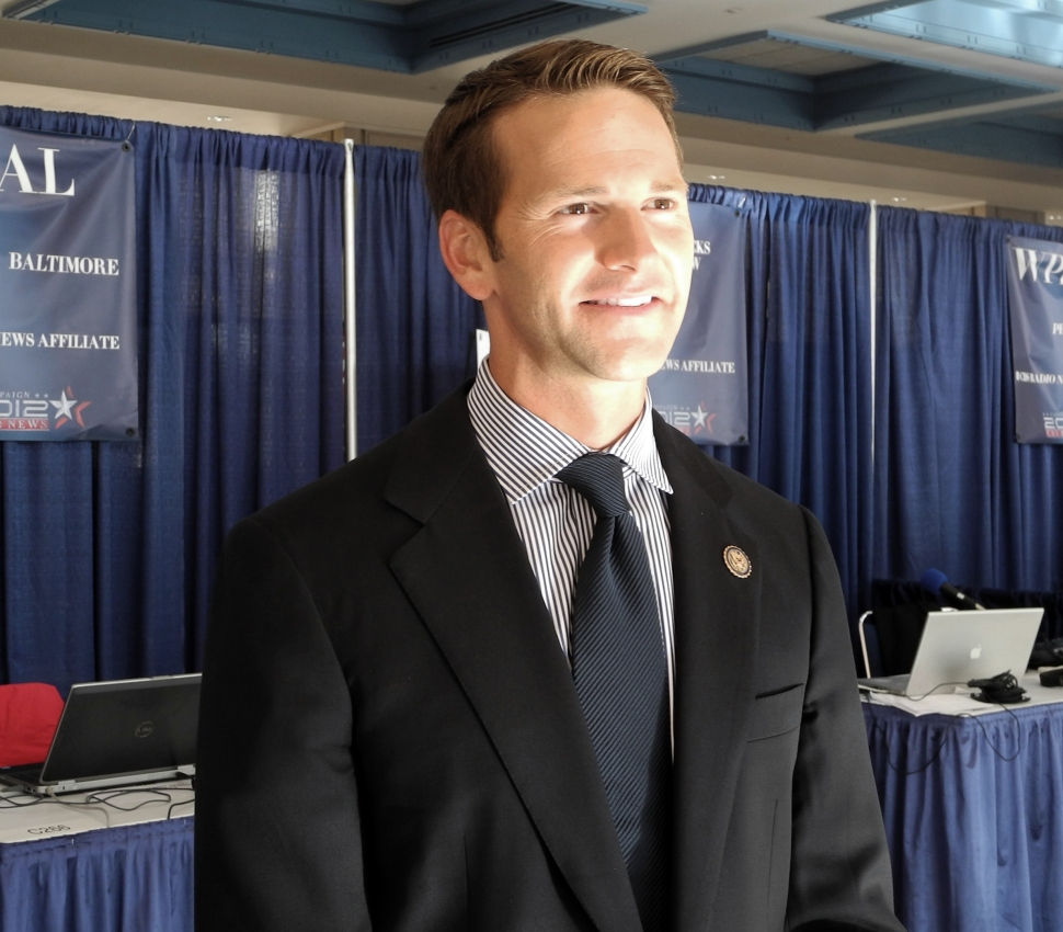 Republican Congressman Aaron Schock of Illinois smiles in Tampa, Florida, on August 28, 2012 during the Republican National Convention. At the time, Schock was the only member of Congress to be born in the 1980s. (BRIGITTE DUSSEAU/AFP/GettyImages)