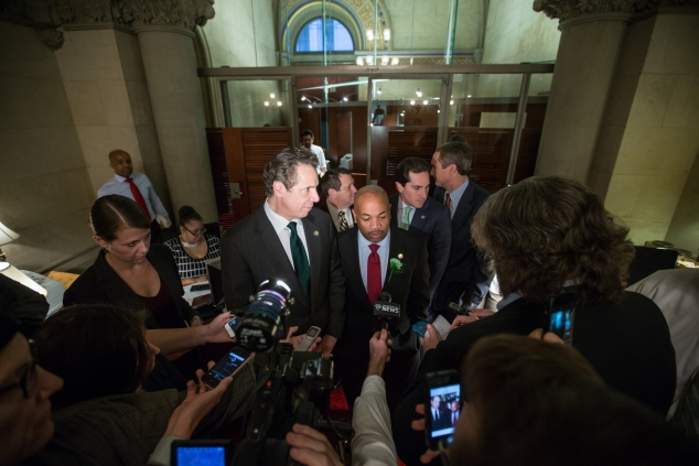 Gov. Andrew Cuomo and Assembly Speaker Carl Heastie in Albany yesterday. (Photo: Governor's Office)