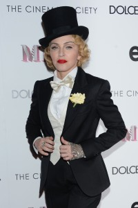 Madonna at the premiere of her MDNA world tour movie in 2013. The event was co-sponsored by Dolce & Gabbana (Photo: Getty).