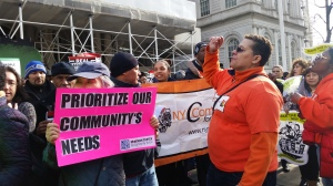 "The ""Real Affordability for All"" rally outside City Hall today. (Photo: Ross Barkan/New York Observer)"