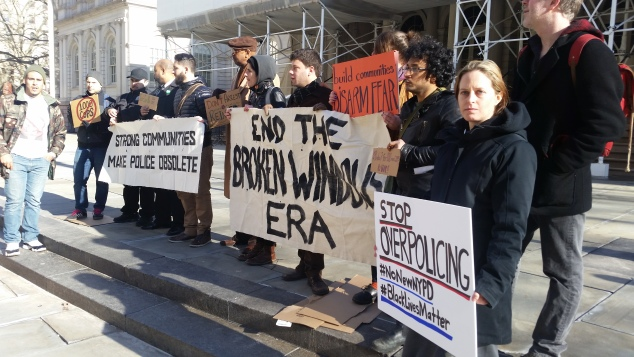 Anti-Bratton protesters outside City Hall this morning. (Photo: Ross Barkan/New York Observer)