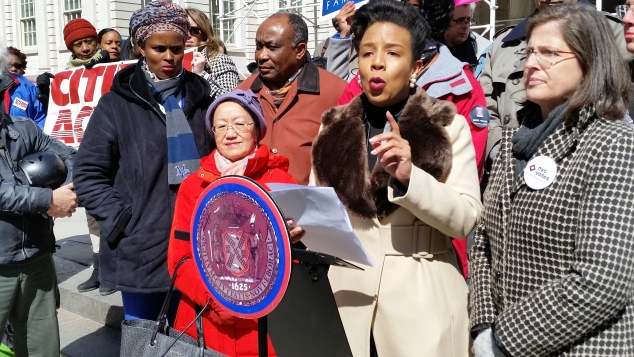 Councilwoman Laurie Cumbo and allies rally for the Senate minority leader to be included in budget talks. (Photo: Ross Barkan/New York Observer)